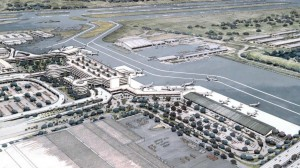 Architect's drawing of new Interisland Terminal, Honolulu International Airport, 1987.