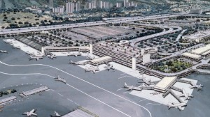 Architect's drawing of new Interisland Terminal Complex, Honolulu International Airport, 1987.
