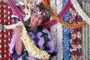 Bessie Watson, Bessie's Lei Stand, Honolulu International Airport, 1987.