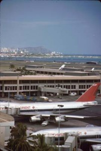 Diamond Head Concourse, Honolulu International Airport, 1987. Diamond Head is in the background.