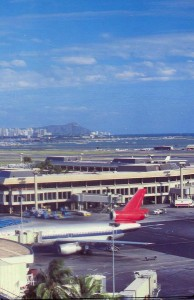 Honolulu International Airport with Diamond Head in the background, February 1987.