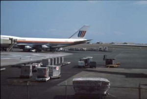 United Airlines at Honolulu International Airport, 1987.
