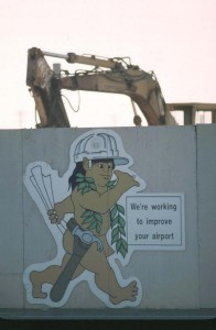Menehune Construction sign, Honolulu International Airport, 1987.