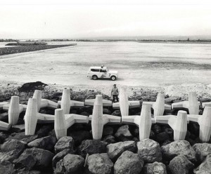Concrete pylons on the Reef Runway, Honolulu International Airport, 1980s