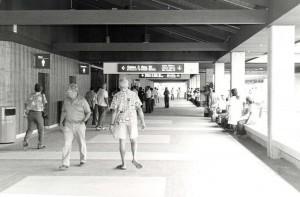 Walkway to holding rooms, Lihue Airport, Kauai, February 1987.