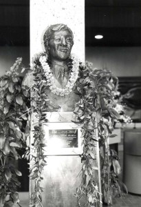 Bronze bust of Richard Kawakami for whom the Lihue Airport Terminal is named, February 25, 1987.