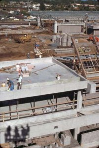 Construction of new terminal at Kahului Airport, Maui, 1987.