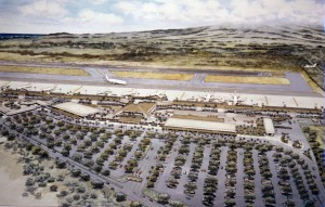 Artist's drawing of new Kahului Airport Terminal, Maui, 1987.