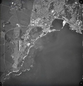 Kahului Airport, Maui, at bottom left, and Kahului Harbor at middle right, November 23, 1989.