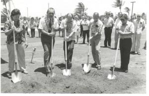 Groundbreaking for Kahului Airport, 1986. From left, Sen. Malama Solomon, Governor John Waihee, Director of Transportation Ed Hirata, Airports Administrator Owen Miyamoto, Maui Airport District Manager Jon Sakamoto.