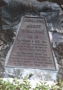 Memorial Plaque at Beach Club, Bellows Air Force Base, October 1988, commemorating the capture of Japanese midget submarine No. 9 on December 7, 1941.