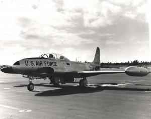 Lockheed T-33 Shooting Star at Hickam Air Force Base, Hawaii, 1982.