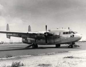 C-119 Flying Boxcar stationed at Hickam Air Force Base, Hawaii, 1980s.
