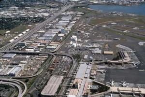 Honolulu International Airport, 1991. Looking from terminal toward downtown Honolulu.