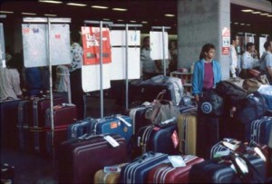 Group Tour area, outside of International Arrivals Building, Honolulu International Airport, 1990s.