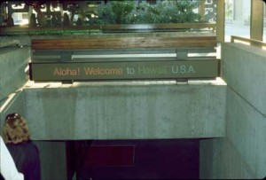 Entry to International Arrivals Building, Honolulu International Airport, 1990s.