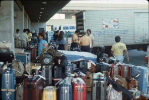 Baggage at Group Tour Area, International Arrivals Building, Honolulu International Airport, 1990s.