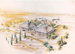 Artist's drawing of new Lanai Airport Terminal, 1990.