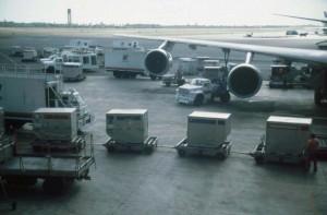 Baggage carts, Honolulu International Airport, 1991.