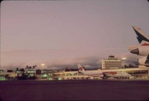 Sunset at Honolulu International Airport, 1991