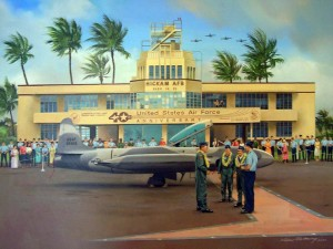 Artist's drawing Hickam Air Force Base, Hawaii, 1990s.