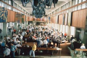 International passenger hold room, Ewa Concourse, Honolulu International Airport, 1990s.