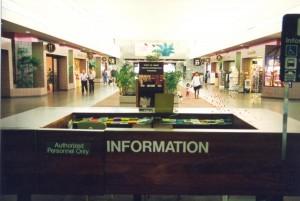 Visitor Information Program desk, Central Concourse, Honolulu International Airport, 1994.
