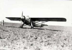 Dole Derby winner Art Goebel lands the Woolaroc at Wheeler Field, August 17, 1927.