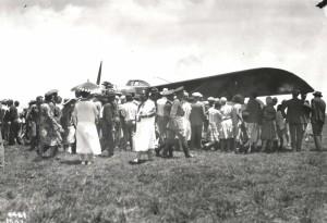 Dole Derby winner Art Goebel and the Woolaroc were welcomed at Wheeler Field, August 17, 1927.