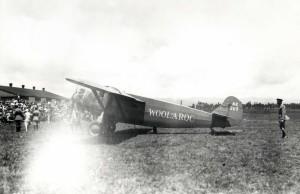 Dole Derby winner Art Goebel at review stand, Wheeler Field, August 17, 1927.