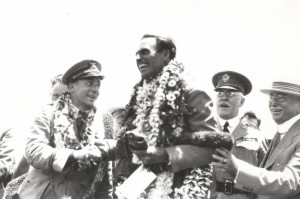 Lt. William Davies and Art Goebel, winners of the Dole Derby, with Maj. Gen. Edward Lewis and Governor Wallace R. Rider, August 17, 1927, Wheeler Field.