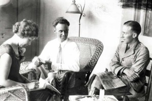 Dole Derby winners Art Goebel and William Davies tell their story to a stenographer the next day, August 28, 1927 at the Royal Hawaiian Hotel.