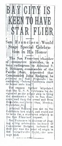 Bay City is Keen to Have Star Flier, 9-13-1925