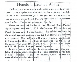 Honolulu Extends Aloha, 9-13-1925