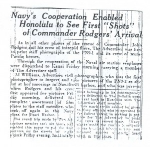 Navy's Cooperation, Enabled Honolulu to See First Shots of Commander Rodgers' Arrival, 9-13-1925