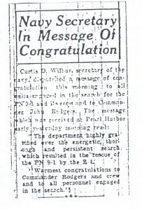 Navy Secretary in Message of Congratulation, 9-11-1925