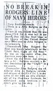 No Break in Rodgers Line of Navy Heroes, 9-11-1925