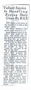 Valiant Service in Handling Rescue Story Given by KGU, 9-11-1925