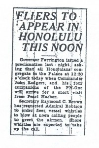 Fliers to Appear in Honolulu This Noon, 9-12-1925