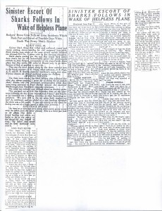 Sinister Escort of Sharks Follows in Wake of Helpless Plane, 9-12-1925