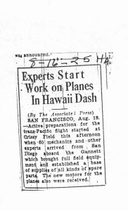 Experts Start Work on Planes in Hawaii Dash, 8-16-1925