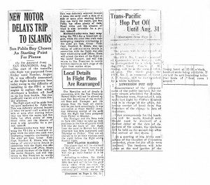 New Motor Delays Trip to Islands, 8-22-1925