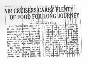 Air Cruisers Carry Plenty of Food for Long Journey, 9-1-1925