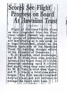 Scores See Flight Progress on Board at Hawaiian Trust, 9-1-1925