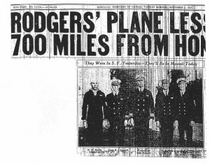 Rodgers' plane less than 700 miles from Honolulu, 9-1-1925