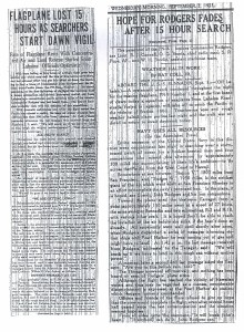 Flagplane Lost 15 Hours as Searchers Start Dawn Vigil, 9-2-1925