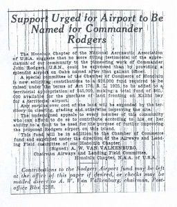 Support Urged for Airport to be Named for Commander Rodgers, 9-6-1925