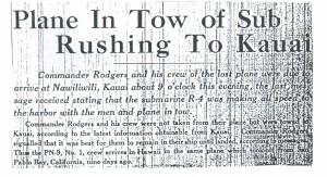 Plane in Tow of Sub Rushing to Kauai, 9-10-1925