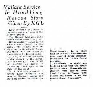 Valiant Service in Handling Rescue Story Given by KGU, 9-10-1925