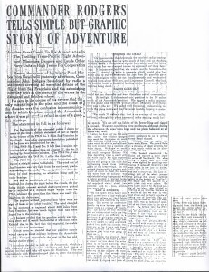 Commander Rodgers Tells Simple But Graphic Story of Adventure, 9-11-1925